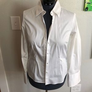 J. McLaughlin white button down with French cuffs